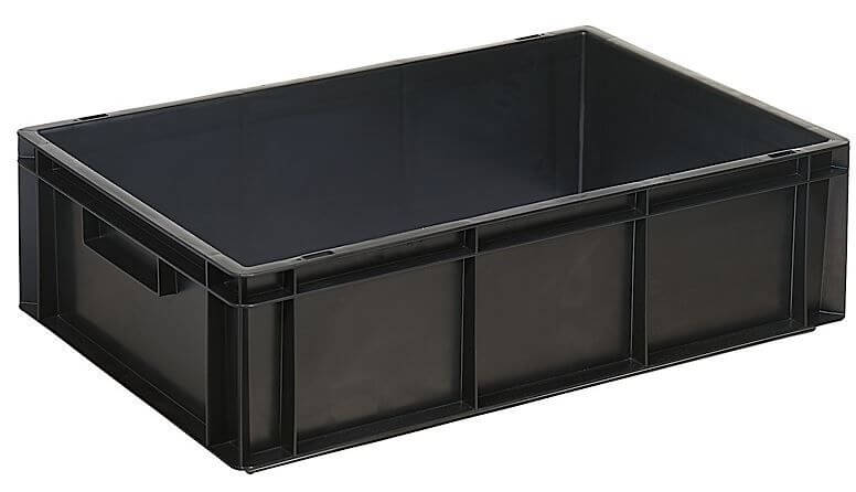 Black colored ESD stackable grid boxes