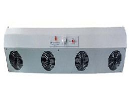 Industrial electrostatic charge eliminating equipment. Horizontal type Ionizing Air Blower with dual fans. Designed for use with sensitive electronic components.