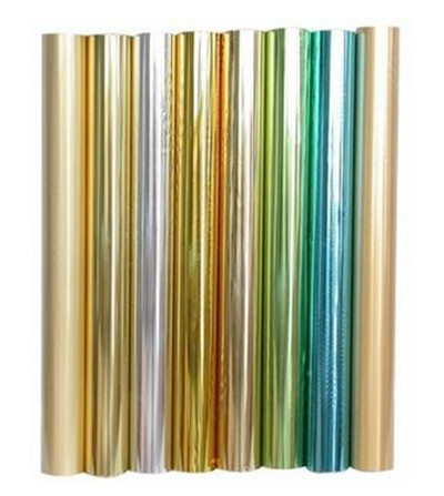 Antiglare Coated Industrial Grade Aluminum Foil in colors Red, silver, blue, green, purple, gold, pink.