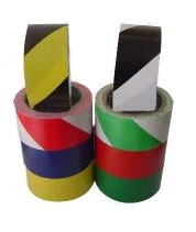 Industrial floor marking tape made of PVC and highly resistant to solvents, oil and water.