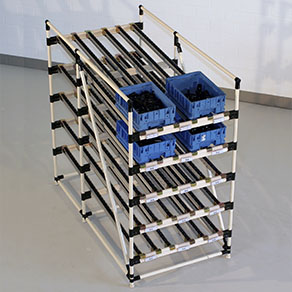 Five Level Flow Racks for use in incoming goods, shipping, production, buffer warehouses, and fully automated warehouses